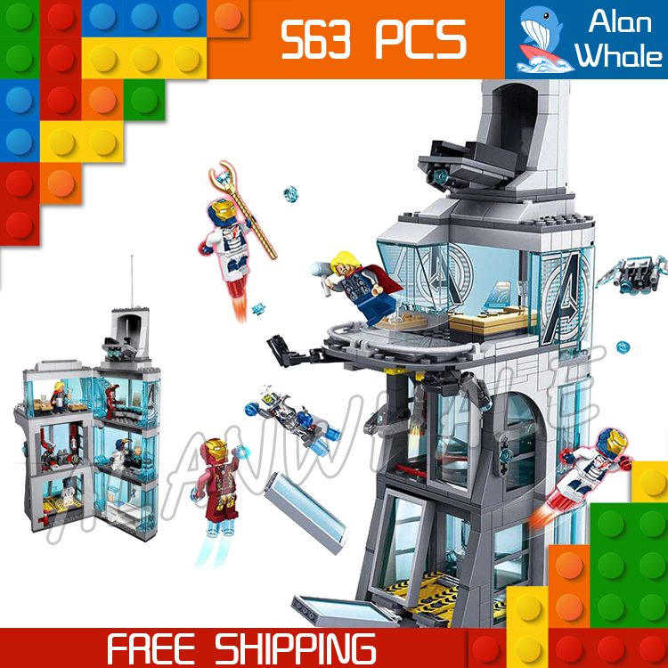 563PCS Super Heroes Attack on Avengers Tower SY370 Model Building Blocks Tony Stark Toys Brick Construction Compatible With lego
