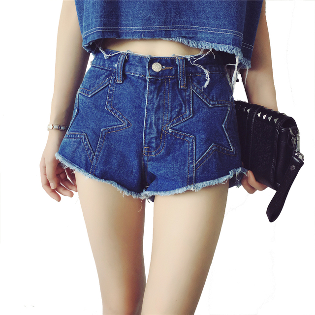 Tengo Women Fashion Casual 2016 Summer New Stars Skinny Denim Shorts