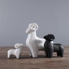 white black ceramic sheep home decor crafts room decoration goat handicraft porcelain animal figurines wedding decorations