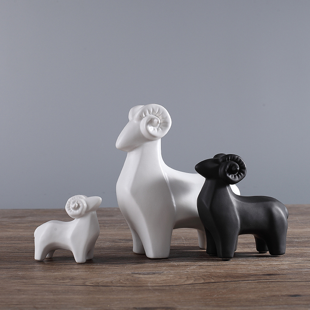 White Black Ceramic Sheep Home Decor Crafts Room Decoration Goat Handicraft  Porcelain Animal Figurines Wedding Decorations