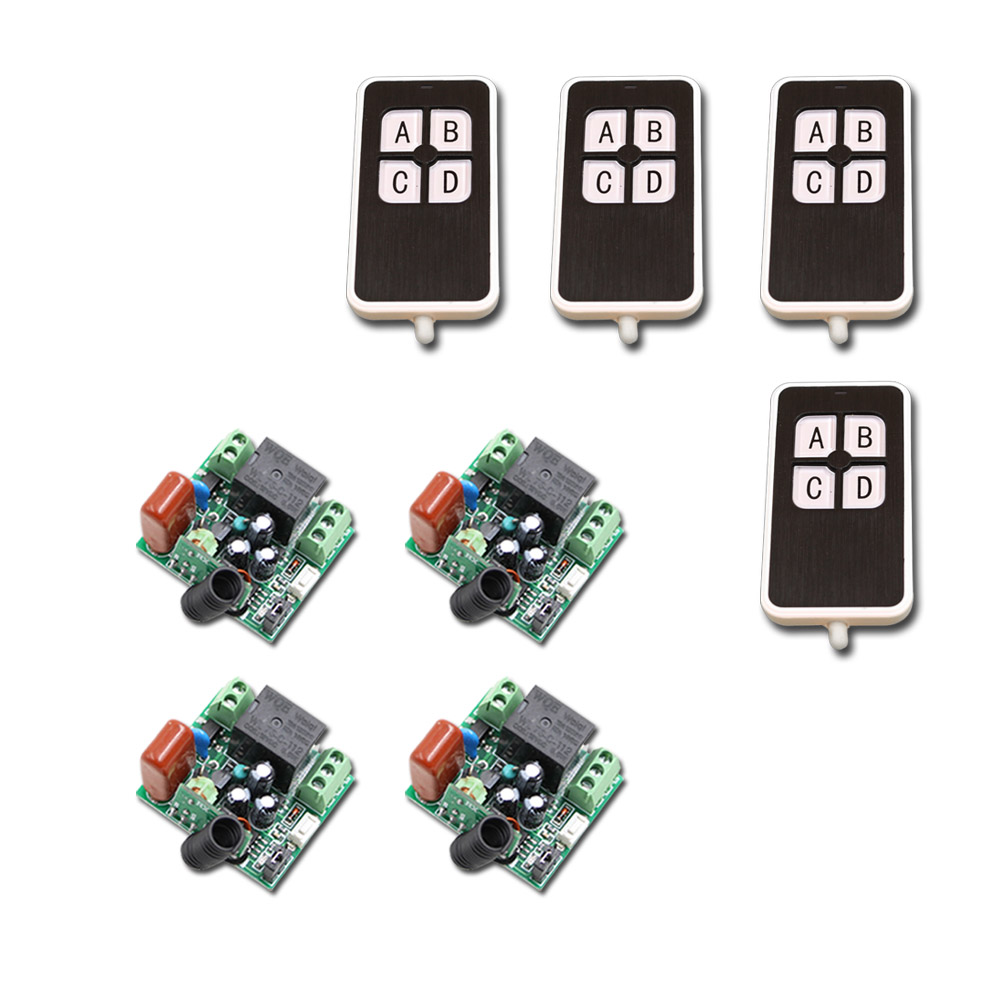 AC220V RF Wireless Remote Control Switch Mini 1CH 1 CH Relay Receiver Switch RF ON/OFF 4 Receivers with 4 Transmitters