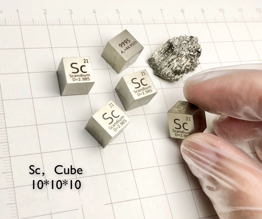 Scandium Metal 10mm Density Cube 99.9% Pure for Element Collection цена