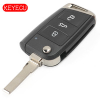 Keyecu Aftermarket Flip Remote Key Fob 3 Button for Volkswagen MQB Golf VII MK7, for Skoda Octavia A7 2017 P/N: 5G0 959 753 BC