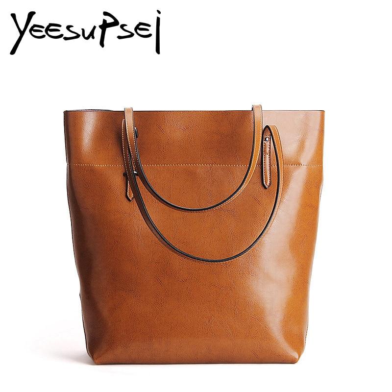 все цены на YeeSupSei Women Glossy Leather Handbag Bolsos Mujer De Marca Female Vintage Bag Women Shoulder Bag Retro Large Capacity Tote Bag онлайн
