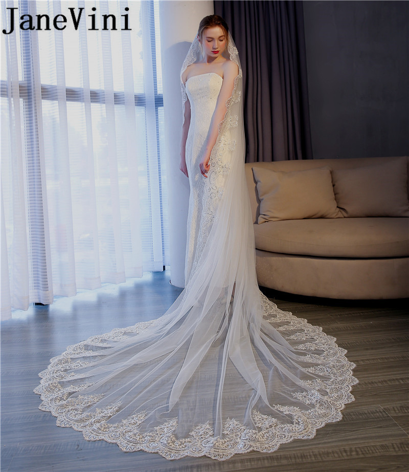 JaneVini Bridal Veils Cathedral Length Veil Lace Appliques Edge Soft Tulle One Layers with Comb Ivory