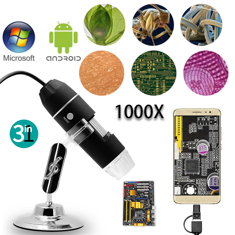 3 IN 1 1000 x Zoom Extension of 8 LED USB with power supply Digital Microscope Endoscope Magnifier camera with stand