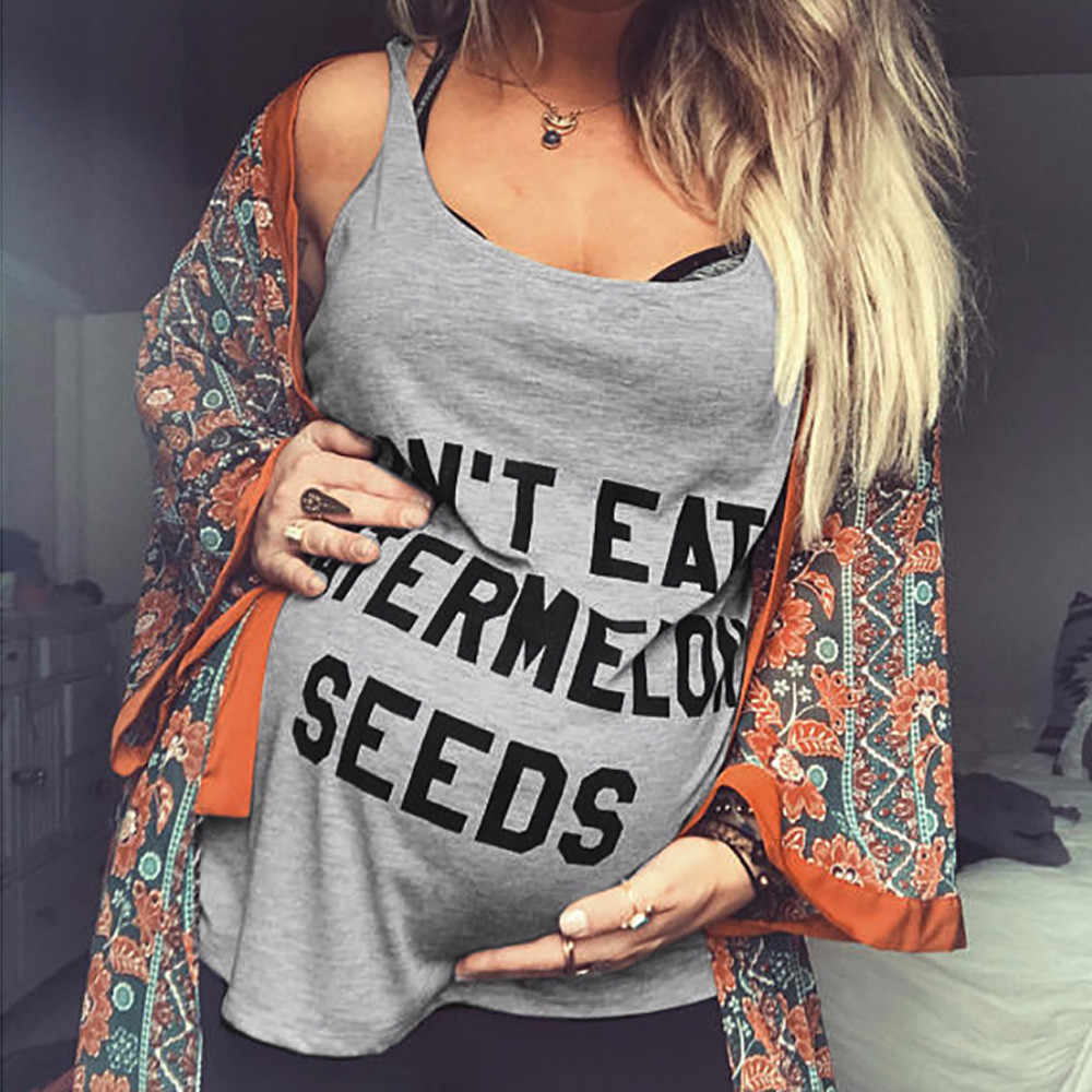 Для женщин топы для беременных Мода без рукавов принт буквы жилетка для беременных Танк блузка летние топы для беременных Ropa Embarazada