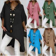 Large size Womens Dresses 2019 new ladies fashion irregular cotton and linen V-neck sleeve