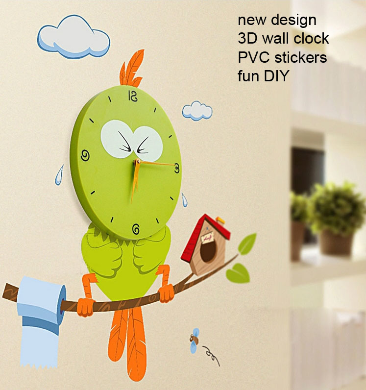Novelty Kids Large Wall Clocks New DIY Cartoon 3D Vinyl Stickers Watch Home Decor Children Gift Modern Design Freeshipping - UP-UP Best Store store