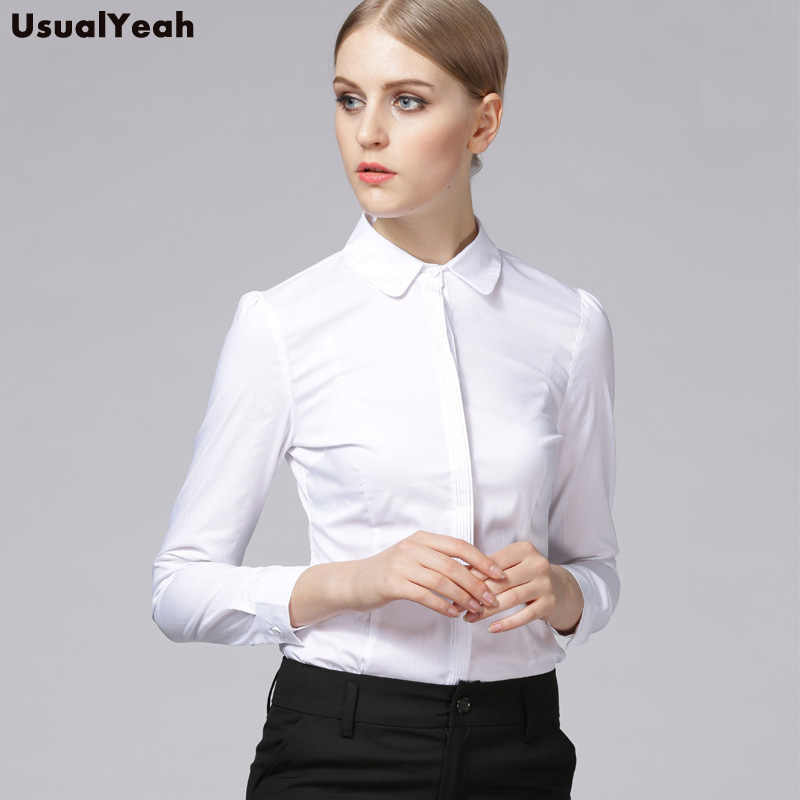 b4b6347a7 ... New 2018 Women Body Shirt Blouse Striping Turn-down Collar Formal Long  Sleeve Office Work ...