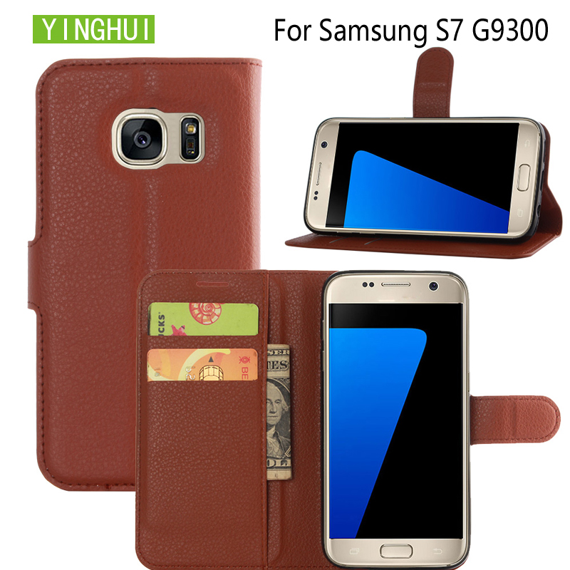 """YINGHUI For Samsung Galaxy S7 G9300 5.1"""" Leather Case For Samsung Galaxy S7 G9300 Phone Cover Wallet Card Stand Bag Coque"""