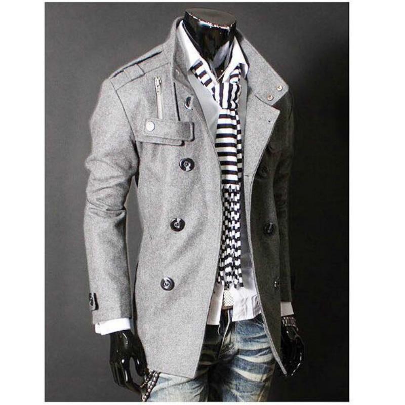 Tuta Uomo Abbigliamento Di Nuovo Medio medium Cappotto light lungo Trench  Giacca Gray Lana Designer A ... 0ec3738666b