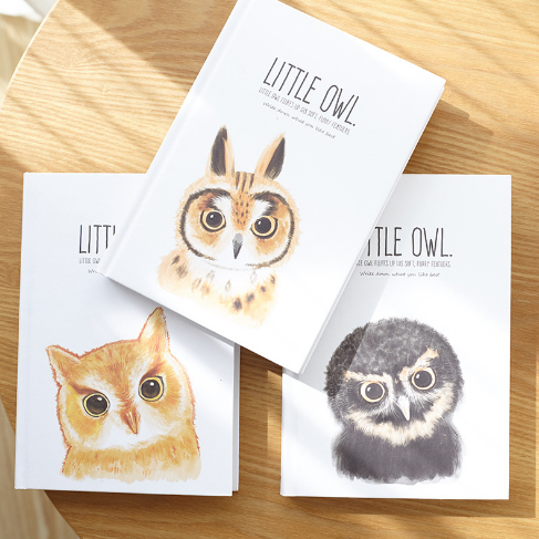 1Pcs A5 Cute Little Owl Series Hardcover Blank Notebook Office School Stationery Student Journal Noted Planner Diary 071 marble a5 notebook blank page sketchbook diy drawing bullet journal daily planner school and office stationery wholesale