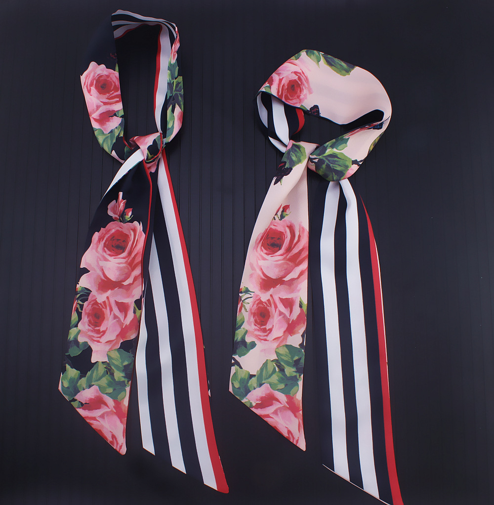 Female Headband New Design Print Women Silk Scarf Fashion Head Scarf Small Tie Bag Skinny Constellation Long Scarves & Wraps