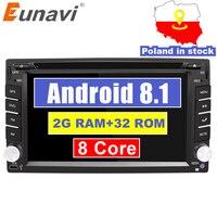 Eunavi Octa 8 Core Universal 2Din Android 8.1 Autoradio Multimedia Car Radio Dvd Player Stereo Gps Navi+wifi+bluetooth In Dash