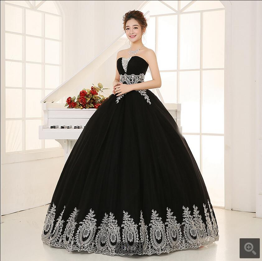 New Arrival Ball Gown Black Lace Appliques Puffy Prom Dress Sweet 16