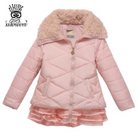 Size 110 160 Children Outdoor Winter Jacket High Quality Rose Red Pink Warm Kids Girl Fashion