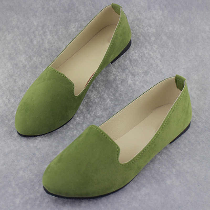 b69eb4a5549 ... Women Slip On Candy Color Flat Autumn Loafers Plus Size Female Comfort  Flock Pointed Toe Fashion ...