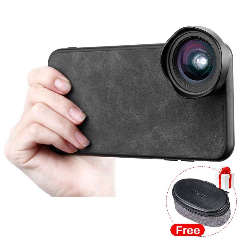 Ulanzi 16MM Lente Grande Angular Lente Anamórfica 17 MILÍMETROS da Linha Caso de Telefone para o iphone X Xs Max Huawei P20 pro Caso Móvel Habitação