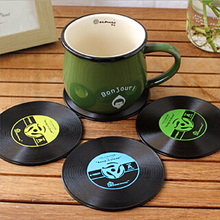 4pcs Retro Vinyl Drinks Coasters Table Cup Mat Pad Holder Home Decor CD Record Coffee Drink Placemat Tableware Cup Accessories