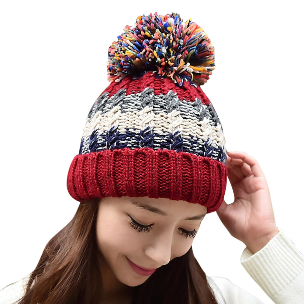 1PC Fashion Women Winter's Hat Mixed Contrast Color Lady Girls Warm Knitted Cap Head Ear Protect Skullies Soft Beanies Hot Dec23 skullies 2017 fashion new arrival indian yoga turban hat ear cap sleeve head cap hat men and women multicolor fold 1866688