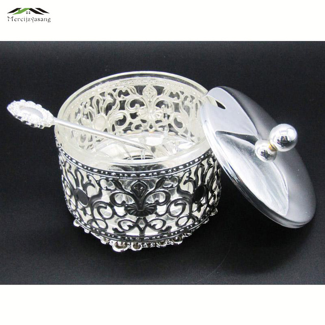 Elegant Silver Finish Metal Acrylic Salt/Sugar/Tea/Coffee Jars High Quality Crystal Inner Caster Tableware Dinnerware Sets