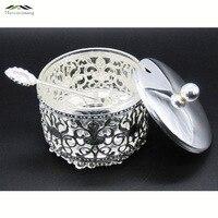 Elegant Silver Finish Metal Acrylic Salt Sugar Tea Coffee Jars High Quality Crystal Inner Caster Tableware