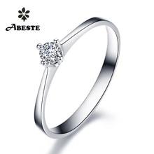 ANI 18 К белый/желтый/розовое золото(AU750) Женское Обручальное кольцо 0,1 карат сертифицированное SI Solitiare круглое кольцо c настоящим бриллиантом anillos mujer