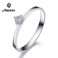 ANI 18 K Белое/желтое/розовое золото (AU750) Женское Обручальное кольцо 0,1 КТ Сертифицированный SI Solitiare круглое кольцо c настоящим бриллиантом anillos