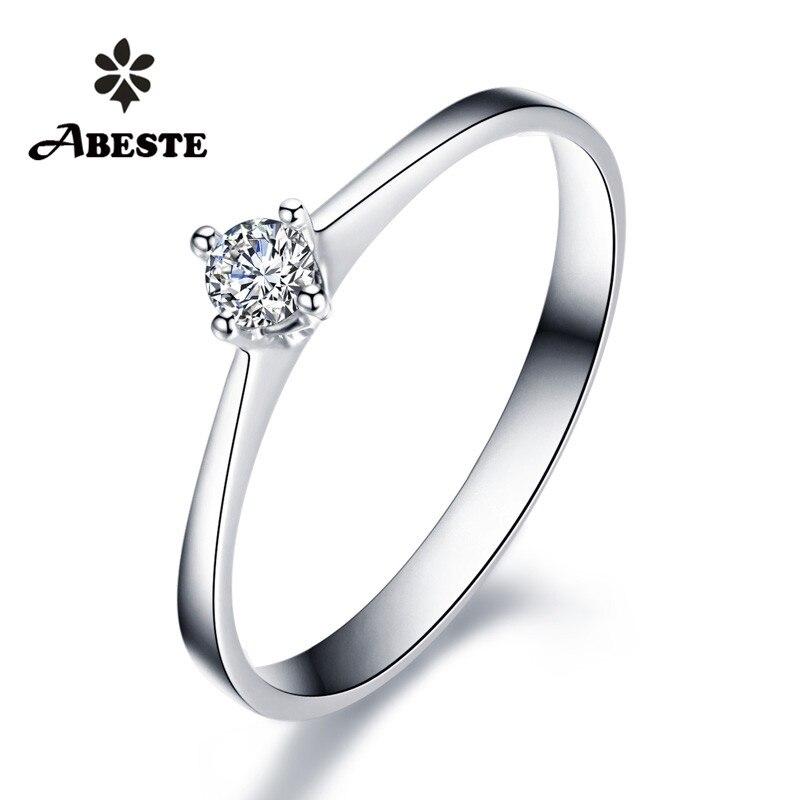 Takı ve Aksesuarları'ten Halkalar'de ANI 18 K Beyaz/Sarı/Gül Altın (AU750) kadınlar Alyans 0.1 CT Sertifikalı SI Solitiare Yuvarlak gerçek elmas yüzük anillos mujer'da  Grup 1