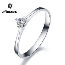 ANI 18K White Gold (AU750) Women Wedding Ring 0.1 CT Certified I-J/SI Solitiare Round Cut Real Diamond Ring Jewelry Customized 1 ct 925 sterling silver round cut crown sona simulation diamond ring 18k white gold plated ring us size from 4 to 12 jsa