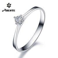 ANI 18K White/Yellow/Rose Gold (AU750) Women Wedding Ring 0.1 CT Certified SI Solitiare Round Real Diamond Ring anillos mujer