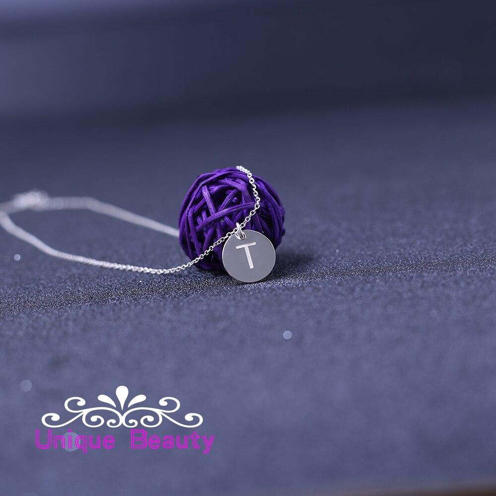 Заказное круглое ожерелье с гравировкой Initals 925 Твердое Серебро A Z ожерелье с надписью ювелирные изделия подарок на день рождения