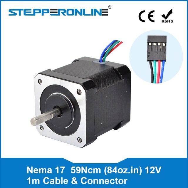 4-привести Nema 17 шагового двигателя 42 двигатель 59Ncm (84oz. В) 2A 42x48 мм Вт/1 м кабеля и разъем для ЧПУ XYZ 3D-принтеры двигателя