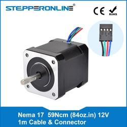 4-lead Nema 17 Stepper motor 42 Motor 59Ncm(84oz.in) 2A 42x48mm w/1m Cable & Connector for CNC XYZ 3D Printer Motor