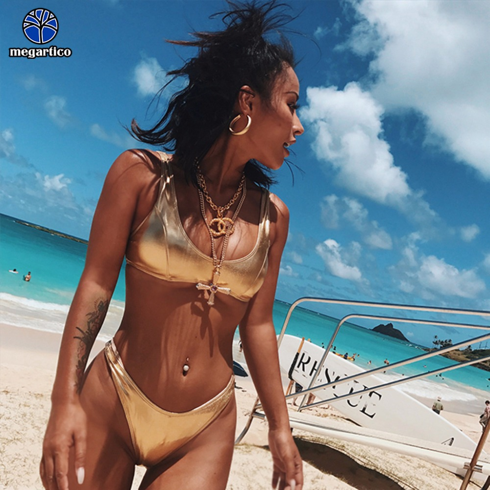 Megartico women swimsuit one piece 2019 golden thong bikini set swimwear brazilia silver deep v neck