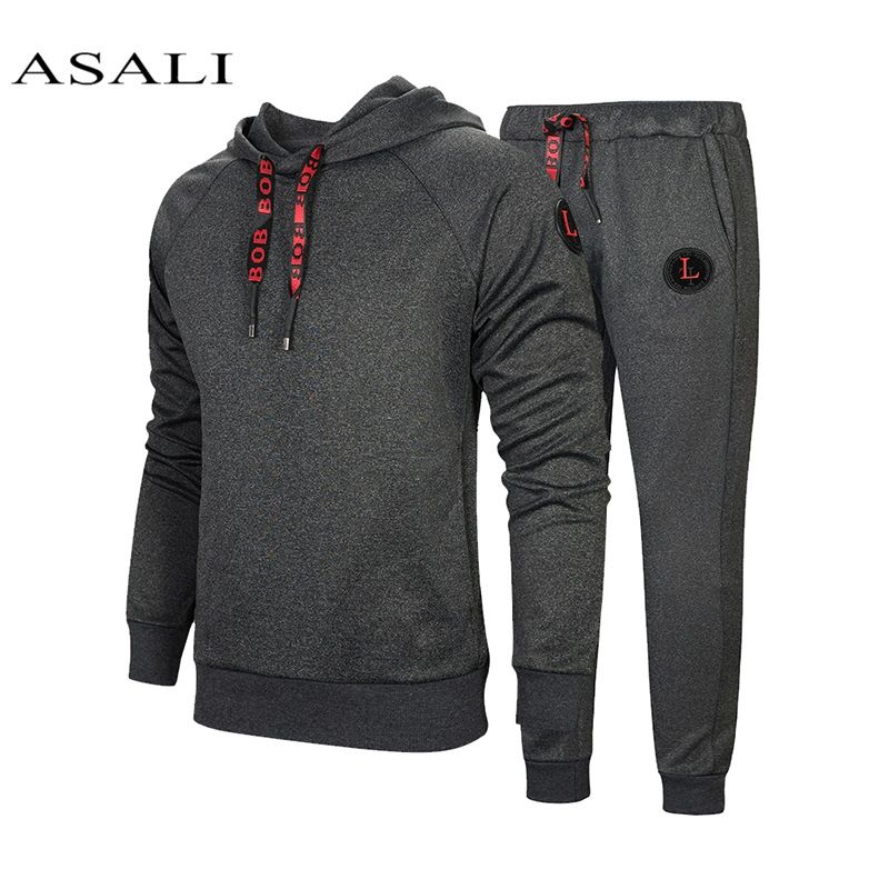 New Winter Men Set Causal Jacket 2Pcs Tracksuits Thicken Fleece Hoodies + Pants Spring Set Male Sporting Sweatshirt Jogger Suit