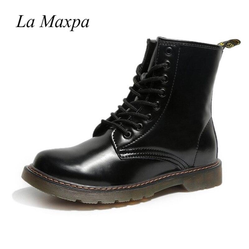 La MaxPa Dr. Martens Pascal In Pelle Da Combattimento di Avvio delle Donne di Brevetto Stivali di Pelle Nera In Pelle Liscia Lace-Up Punk militare di Avvio