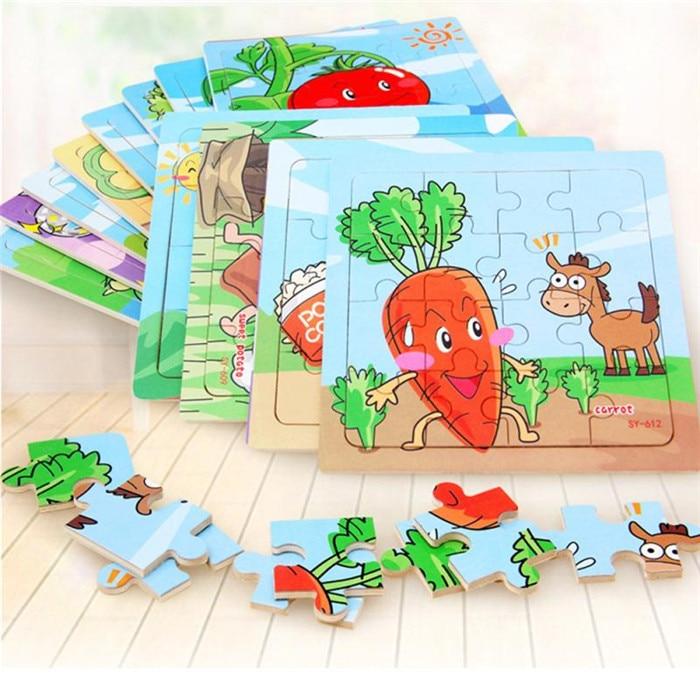 Оптовая продажа падение доставка Дети 16 шт. красочные деревянные мультфильм фрукты развивающие игрушки Необычные Пазлы S3MAY31
