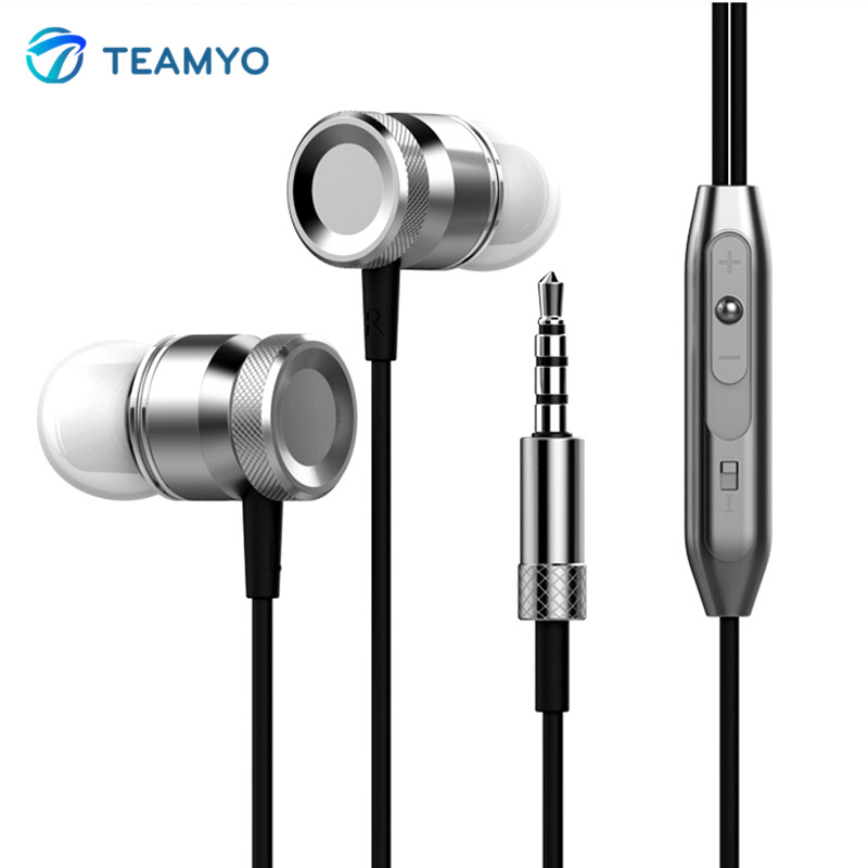 Teamyo In-Ear Stereo Earphone Super Bass Music Player Handsfree Headset With Mic Metal Earbuds For iPhone Samsung Xiaomi MP3 vention vae t03 earphone 3 5mm in ear bass stereo earbud with remote mic for samsung mp3 player