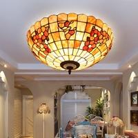 European Tiffany ceiling retro shell Mediterranean Sea pastoral Ceiling Lights luminaria teto Ceiling Lamps 20inch