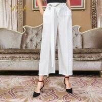 VOA Высокая талия на шнуровке ремень широкие брюки ноги прохладной военные брюки белый Harajuku Роскошный шелк костюм Pantalon Palazzo Broeken K873