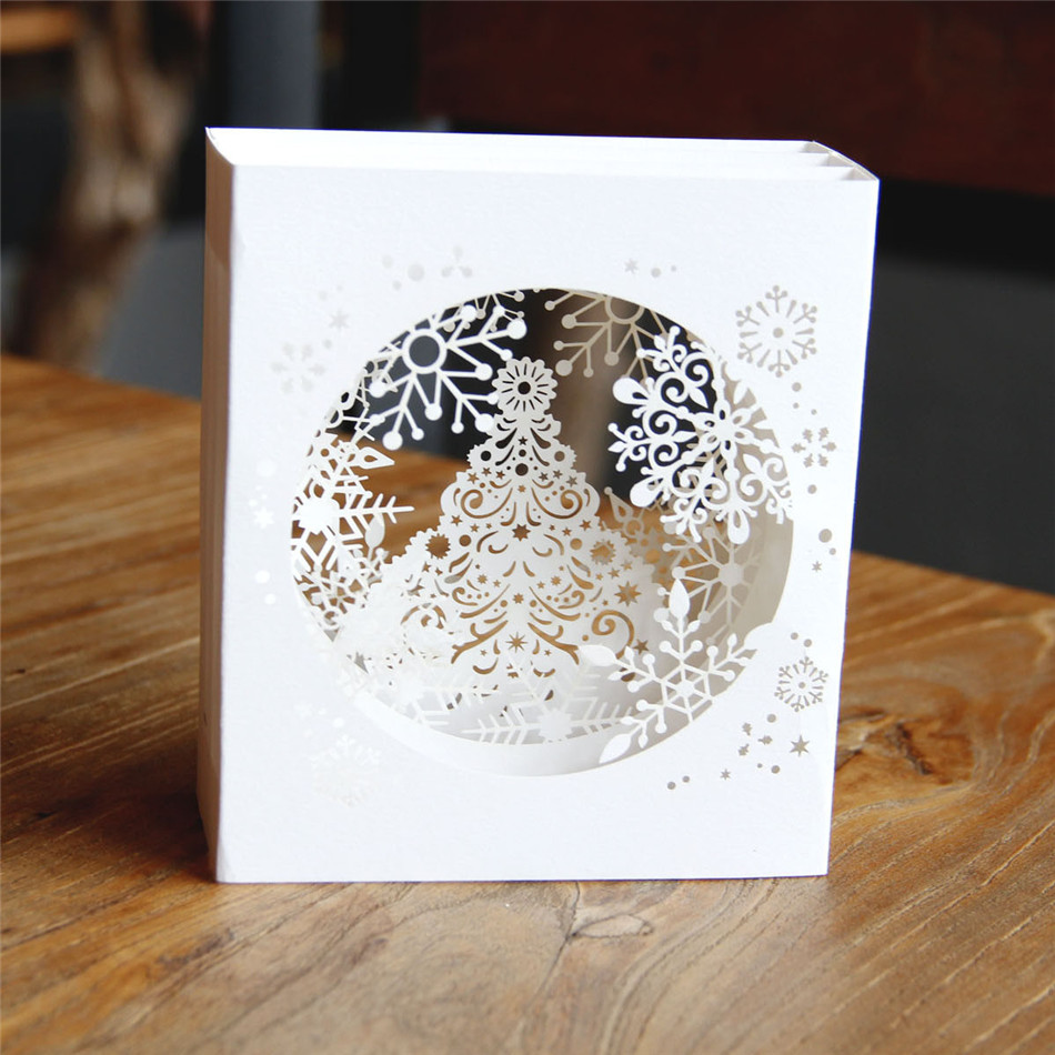 3d Pop Up Paper Laser Cut Cards Merry Christmas 3d Tree Boxes Snowflake Design Greeging Cards Vintage Postcards Message Paper