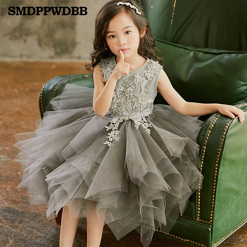 SMDPPWDBB Grey Flower Girl Dresses Kids Pageant Party Wedding Ball Prom Princess Formal Occassion Flower Lace Girls Dress 2-10Y girl s formal dress 2018 flower girls wedding dresses cute kids gauze lace party ball gown children s long prom dress pink 3 13y