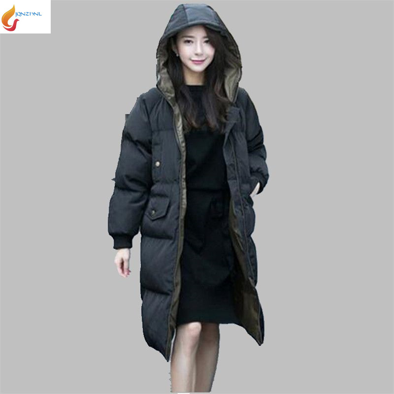 Han editioc Cotton Coat Big yards Women New product Winter Keep warm Medium long Thicken Hooded Down cotton-padded jacket G1572 2017 new winter fashion women down jacket hooded thick super warm medium long female coat long sleeve slim big yards parkas nz18