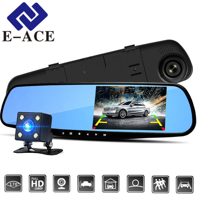 E-ACE 4.3 Inch Car Dvr Camera Full HD 1080P Automatic Camera Rear View Mirror With DVR And Camera Auto Recorder Dashcam Car DVRs