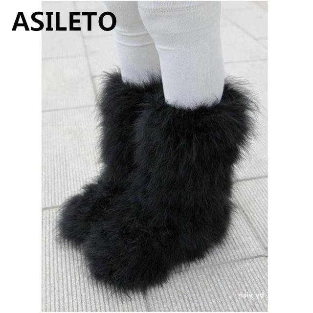ASILETO Mùa Đông Giày nữ Thật có lông Lông Đà Điểu lông xù Lông căn hộ sang trọng trượt tuyết ngoài trời Eskimo Giày lông tơ Giày bootie T553