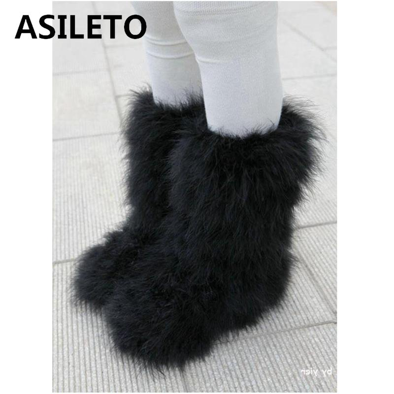 Asileto Winter Boots Women Real Hairy Ostrich Feather Furry Fur Flats Plush Ski Outdoor Eskimo Boots Fluffy Shoes Bootie T553