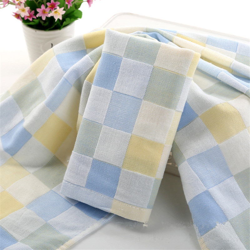 Checkered 1PC 25*50CM Face Towel Kids Chidren Microfiber Absorbent Hand Dry Towel