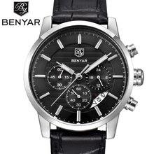 Benyar 2016 erkekler saatler en marka lüks iş su geçirmez spor kronograf kuvars man İzle erkek saat reloj hombre saat